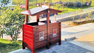 湖南安仁稻田公园垃圾桶